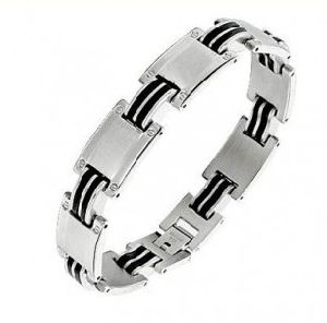 Stainless Steel with Black Leather Bracelet (XBL12245) pictures & photos