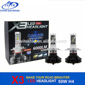 Philips 50W X3 Car Light H4 LED Headlight 6000lm 6500k pictures & photos