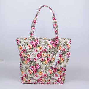 Promotional Canvas Flower Printed 45*37cm Shouder Casual Bag pictures & photos