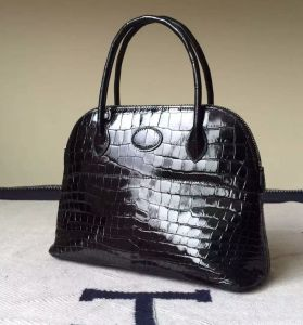 Shiny Black Crocodile Genuine Leather Handbags Tote Bags Shell Bags Full Handmade