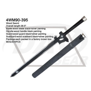"39.5"" Wood Sword with Black&Silver Painting Blade: 4wm90-395 pictures & photos"