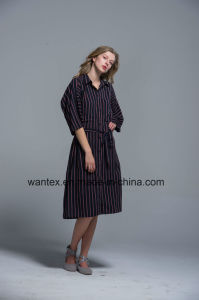 Ladies Long Dress 100% Cotton Summer Fashion Belt Stripe Famous Cloak pictures & photos