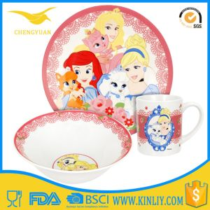 Cartoon Princess 3-Piece Porcelain Bone Dinnerware Dinner Set Children pictures & photos