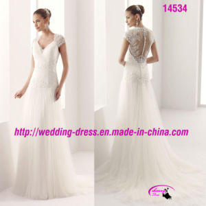 Slim V-Neckline Lace Tulle Bridal Dress with Cap Sleeve pictures & photos