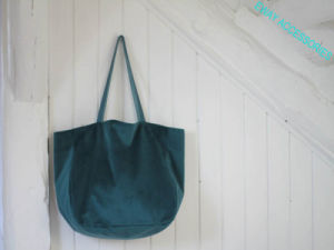 Large Teal Velvet Tote Bag Shopping Garment Bag pictures & photos