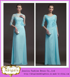 2014 Latest Designs Elegant Simple Ice Blue Sheath Three Quarter Sleeves Lace Bodice Chiffon Long Lace Evening Dress (MN1351) pictures & photos