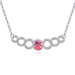Girl′s Hot Design Pink Crystal Feather Necklace