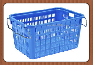 Canada Customized Colored Quality Plastic Storage Basket with Handle Manufacturer pictures & photos