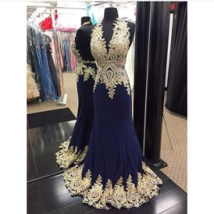 Charming Mermaid Sweetheart Sleeveless Beaded and Appliques Floor Length Girl Party Wear Western Dress (HS173) pictures & photos