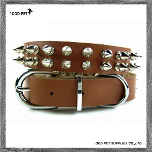 2 Rows Spiked Brown Cow Leather Dog Collars (SPC7029-1) pictures & photos