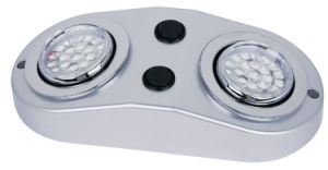 Twin Heads Cabinet Light with X 24SMD LED Swivel Plus Lense 60 Degree 2*1.2W with Switch