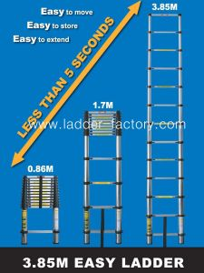 Telescopic Ladder-3.8m - (Multi-Times Fold)-EN131/SGS, GS/TUV, PAHS, REACH, BSCI