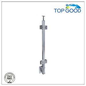 Stainless Steel Railing Post with Glass Clamp and Wall Mounted Bracket