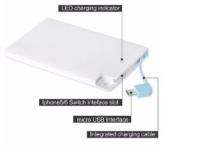 2500mAh Ultra Thin Plastic Credit Card Power Bank with Built-in Micro USB/Lightning Output Cable pictures & photos
