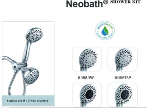 Stainless Steel Hose Chrome Shower Head and Massager Set