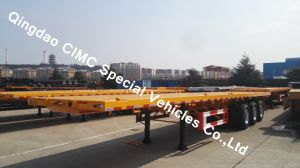 Cimc 40FT Semi Truck Flatbed Trailer with 3 Axles for Sales Truck Chassis pictures & photos