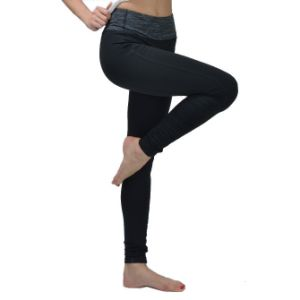 Best Quality Girls Wearing Yoga Pants Contrast Waistband Yoga Pants for Girls pictures & photos