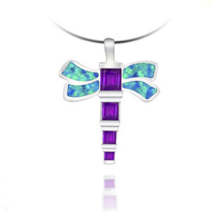 925 Sterling Silver Pendent with Opal and Amethyst (LOP1015)