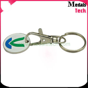 Silver Metal Round Coins Shape Enamel Flower Keychain pictures & photos
