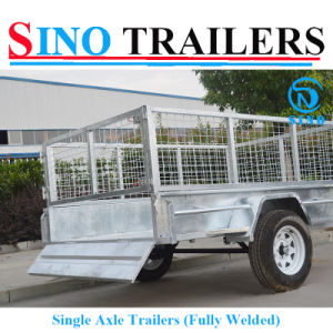 Flat Steel Cage Trailer with Single Axle pictures & photos