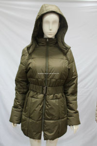 Women′s Long Style Warm Winter Coat with Hoody (AH-0263) pictures & photos