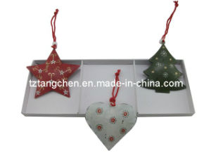 Christmas Metal Star Heart Hanging S/3 (TC-163352A)
