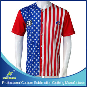 Custom Made Sublimation Full Buttons Down Baseball Jerseys pictures & photos