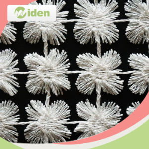 100 Polyester Rhinestones Decorations Round Pattern Chemical Lace Fabric pictures & photos