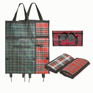 Promotional Foldable Shopping Trolley Bag with PE Coated Fabric pictures & photos
