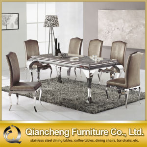 Marble Stainless Steel Square Dining Table pictures & photos