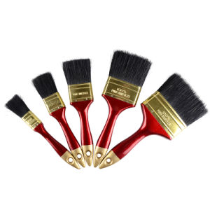 High Quality Plastic Handle Golden End Black Bristles Paint Brush pictures & photos
