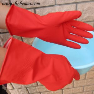 Green Household Washing Kitchen Latex Glove pictures & photos