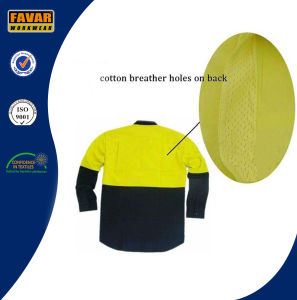Fluro Yellow Cotton Drill Summer Long Sleeve Shirt Safety Workwear with Mesh Vent pictures & photos