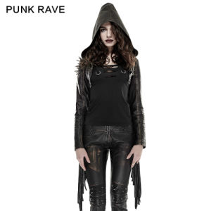Y-667 Punk Rave 2016 Spring New Design Woman Short Tassel Punk Leather Coat with Hooded pictures & photos