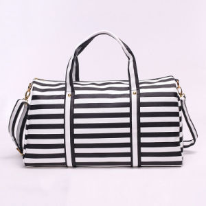 High Quality Wholesale Nylon Carry Bag Stripe Handbag for Travel pictures & photos