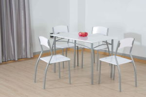 5 Pieces Dining Set, MDF Board with White PVC