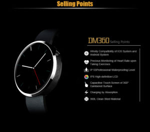 Heart Rate Monitor IPS Round Screen High Resolution LCD Dm360 Smart Watch pictures & photos