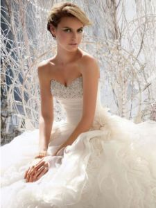 Strapless Bridal Ball Gown Sweetheart Organza Flowers Wedding Dresses W1471936 pictures & photos