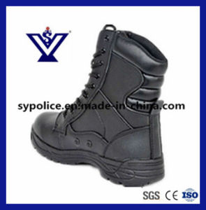 Mens Black Genuine Leather Military Boots for Police (SYSG-005) pictures & photos