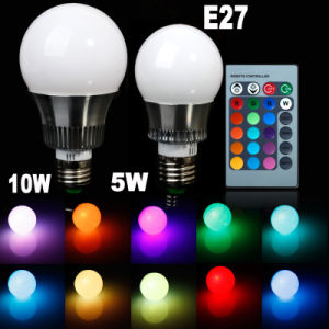 E27 RGB LED Bulb Color Changing 220V with Remote Control pictures & photos