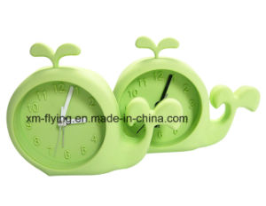 Creative Unbreakable House Shape Home Decoration Snooze Mute Silicone Mini Table Alarm Clock pictures & photos