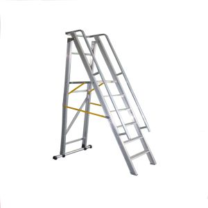 1.5m Aluminum Alloy Folding Platform and Step Ladder with Casters pictures & photos