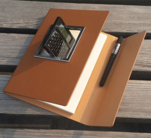 Luxury Brown Leather Notebook with Calculator pictures & photos