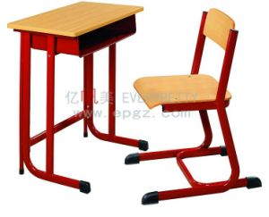 Hot Sale School Furniture Wooden Single Desk & Chair pictures & photos