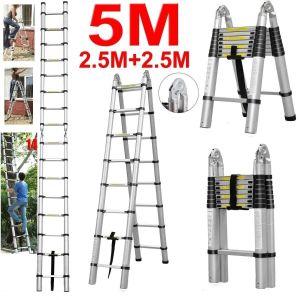 5m Multi-Purpose Folding Telescopic Aluminium a Frame Shape Extendable Ladder pictures & photos