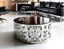 Modern Round Tempered Glass Top Drum Shape Coffee Table pictures & photos