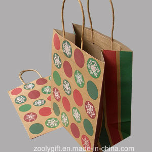 Natural Brown Printing Kraft Christmas Paper Promotional Gift Bag with Twisted Handle pictures & photos