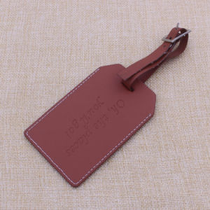 2015 Custom PU Leather Luggage Tags with Embossed Logo pictures & photos