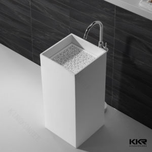 Modern Solid Surface Free Standing Square Pedestal Basin pictures & photos