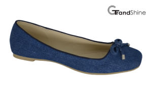Women′s Jean Canvas with Bow Flat Ballet Shoes pictures & photos